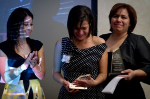 Sandra Rodríguez Nieto (right) and Sandra Gallegos Rodríguez (left) accept their Zenger Award. Photo by Josh Morgan